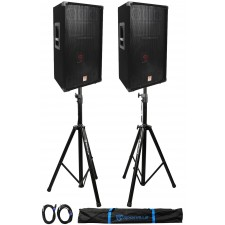 "(2)Rockville RSG12 12"" 3Way 1000 Watt 8Ohm Passive DJ PA Speaker +Stands +Cables"