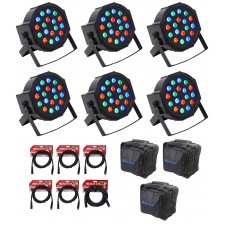(6) FARENHEIT FHB-118 LED RGB DMX LED PAR Can Wash Lights+(6) Cables+Carry Bags