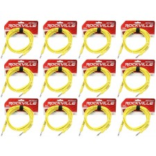12 Rockville RCTR110Y Yellow 10' 1/4'' TRS to 1/4'' TRS  Cable 100% Copper