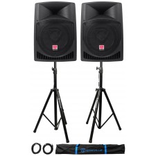 """Pair Rockville RPG12 12"""" 1600w Powered PA/DJ Speakers + 2 Stands + 2 Cables+Bag"""