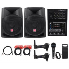 "2) Rockville 12"" Powered 800w Crossfit Gym Workout Speaker System+Mixer+Brackets"