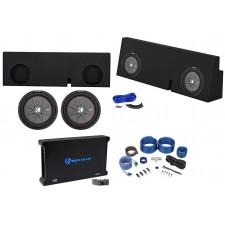 """2005-2017 Toyota Tacoma Double Cab Dual 12"""" Kicker Subwoofers+Amp+Sub Box+Wires"""