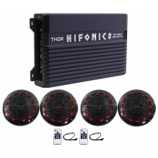 "Hifonics TMA-400.4 400w 4-Ch Marine Boat ATV Amplifier Amp+(4) 6.5"" LED Speakers"