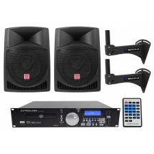 "2) Rockville 12"" 800w Speakers+CD/MP3/USB Player w/Scratch FX Yoga/Spin/Crossfit"