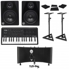 M-Audio Axiom AIR Mini 32 Keyboard Controller+Monitors+Stands+Pads+Mic+Shield