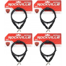 4 Rockville RCTR103B Black 3' 1/4'' TRS to 1/4'' TRS Cable 100% Copper