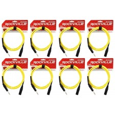 8 Rockville RCXMB6-Y Yellow 6' Male REAN XLR to 1/4'' TRS Balanced Cables