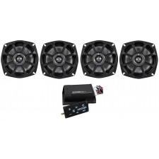 "4) Kicker 10PS52504 5.25"" Harley Davidson Motorcycle Speakers+2-Ch Bluetooth Amp"