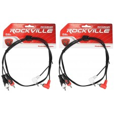 2 Rockville RCDR3R 3' Dual Mono Right Angle RCA to Straight RCA Cable 100%Copper