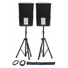 "(2) Cerwin Vega CVE-10 1000w 10"" Powered DJ PA Speakers w/ Bluetooth, DSP+Stands"