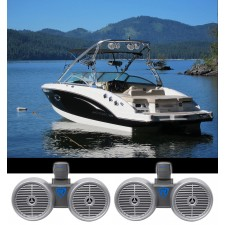 """2) Rockville DWB65S Dual 6.5"""" Black 1200w Marine Wakeboard Tower Speaker Systems"""