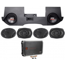 "2002-2016 Dodge Ram Quad/Crew Cab Dual 10"" MTX Subwoofers+Box+(4) Speakers+Amp"