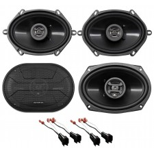 2003-2011 Lincoln Town Car Front+Rear Hifonics Speaker Replacement Kit