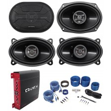 "2) Hifonics ZS693 6x9"" 800W Car Speakers+2) 4x6"" Speakers+4-Ch Amplifier+Amp Kit"