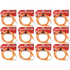 12 Rockville RCTR110O Orange 10' 1/4'' TRS to 1/4'' TRS  Cable 100% Copper
