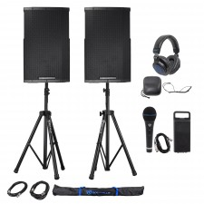 "(2) Cerwin Vega CVE-12 1000w 12"" Powered DJ PA Speakers+Stands+Headphones+Cables"