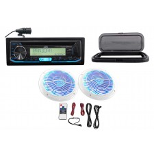 "JVC Hot Tub Audio System w/Stereo Bluetooth Receiver+2) 6.5""White LED Speakers"