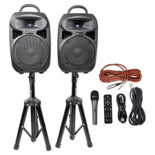 "Rockville RPG082K Dual 8"" Powered PA System Speakers/Bluetooth+Mic+Stands+Cables"