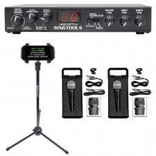 VOCOPRO SINGTOOLS DSP Vocal Effects Karaoke Mixer w/Pitch Correct+(2) Mics+Stand
