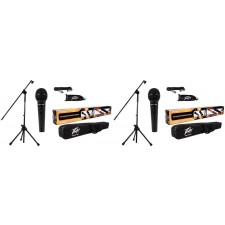 2 Peavey PV MSP1 PVi 100 Microphones+Mic Stands With Boom + Gig Bags+XLR Cables