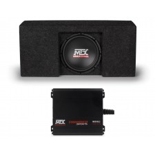 "2009-2015 Ford F-150 Super Crew Cab 10"" MTX Subwoofer+Sub Box Enclosure+Mini Amp"