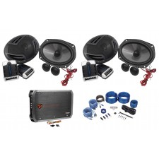 """(2) Pairs Rockville RV69.2C 6x9"""" Component Car Speakers+4-Channel Amp+Wire Kit"""