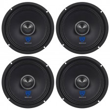 "(4) Rockville RXM64 6.5"" 600w 4 Ohm Mid-Range Drivers Car Speakers, Kevlar Cone"