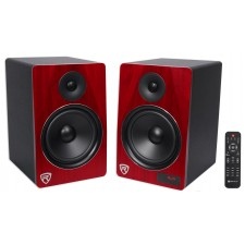 "Rockville HTS8C Pair 8"" 500W Powered Home Theater Speakers w Bluetooth/FM/USB/SD"