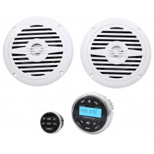 "Hot Tub Audio System w/ Bluetooth Gauge Hole Receiver+(2) 5.25"" White Speakers"