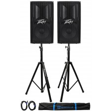 """(2) Peavey PV112 12"""" 1600w Live Sound Speakers+2) Stands+2) Cables+Carry Case"""