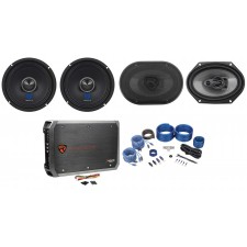 "2) Rockville RXM64 6.5"" Mid-Bass Car Audio Speakers+6x8"" Coaxials+4-Ch Amp+Wires"