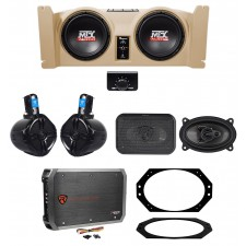 """1997-06 Jeep Wrangler TJ MTX 10"""" Powered Subs+Tan Box+Front+Rollbar Speakers+Amp"""