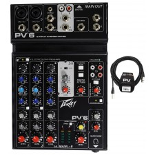 Peavey PV6 PV 6 Pro Audio Mixer with 2 Mic In, USB, Compressor/Effects+XLR Cable