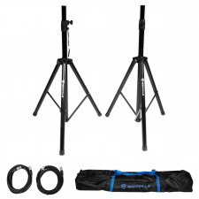 Pair of Rockville Adjustable Tripod Speaker/Light Stands+(2) 20 Foot XLR Cables