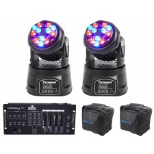 (2) FARENHEIT FH318MH RGB Moving Head Club Stage Lights+Chauvet Controller+Bags