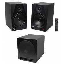 """Rockville HTS8B Pair 8"""" 1000W Powered Bluetooth Home Theater Speakers + 10"""" Sub"""