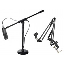 Audio Technica Recording Podcasting Broadcasting Microphone+Boom Arm+Mic Stands