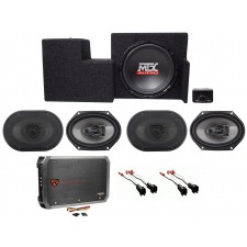 "2009-2015 Ford F-150 Super Cab Powered 10"" Subwoofer+Enclosure+(4) Speakers+Amp"