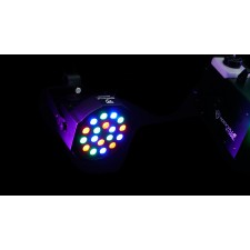 (2) FARENHEIT FHB-118 LED RGB DMX LED PAR Can Wash Lights+(2) Cables+Carry Bag