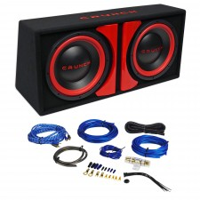 "Crunch CR-212A 1000w Dual 12"" Powered Loaded Subwoofers In Enclosure + Wire Kit"