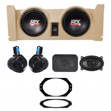 """97-06 Jeep Wrangler TJ MTX (2) 10"""" Subwoofers+Tan Box+Front+Rollbar Speakers+Amp"""