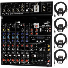 Peavey PV 10BT PV10BT Mixer,4 mic In,Bluetooth/USB,Compressor/Effects+XLR Cables