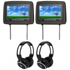 "Pair Of TView T921PL 9"" Gray Headrest Car Video Monitors + 2 Wireless Headsets"