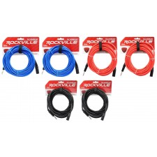 6 Rockville 30' Male REAN XLR to 1/4'' TRS Cable (3 Colors x 2 of Each)