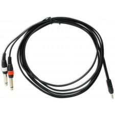 """Rockville RNDSM10B 10' 3.5mm 1/8"""" TRS to Dual 1/4"""" TS Cable 100% Copper"""
