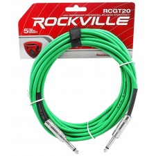 Rockville RCGT20G 20' 1/4'' TS to 1/4'' TS Instrument Cable-Green 100% Copper