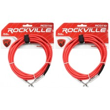 """2 Rockville RCGT10R 10'  1/4"""" TS to 1/4'' TS Guitar/Instrument Cable"""