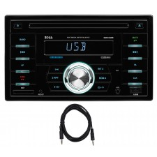 Boss 824UAB 2-DIN Car CD/MP3 Player Receiver w/Bluetooth/USB/SD/Radio+Aux Cable