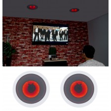 """Pair Rockville HC65-LED 6.5"""" 500 Watt In-Ceiling Home Theater Speakers with LED"""