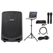 "Samson 6"" Portable YouTube Karaoke Machine/System+(2) Wireless Mics+Laptop Stand"